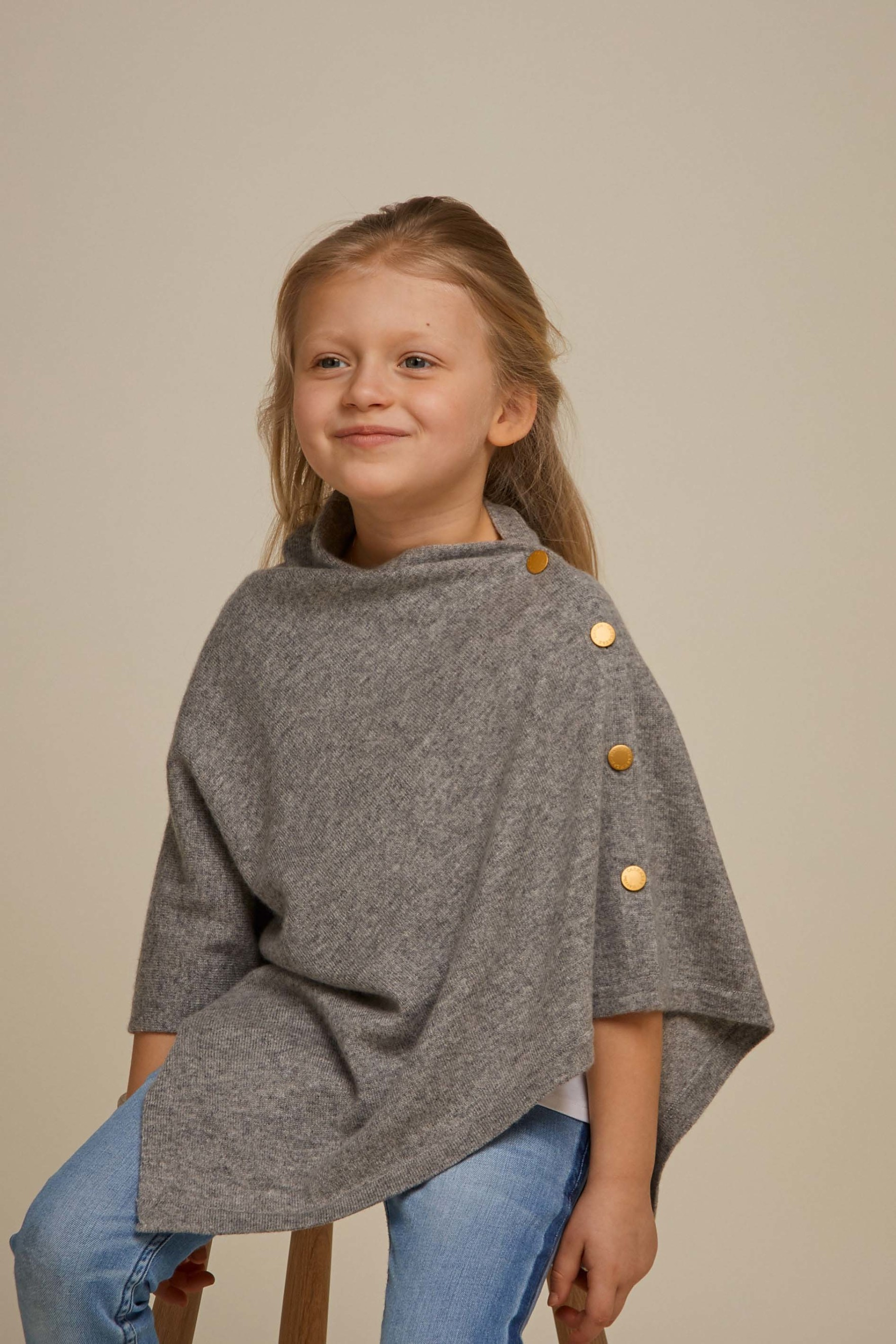 Girl Poncho Gold Buttons