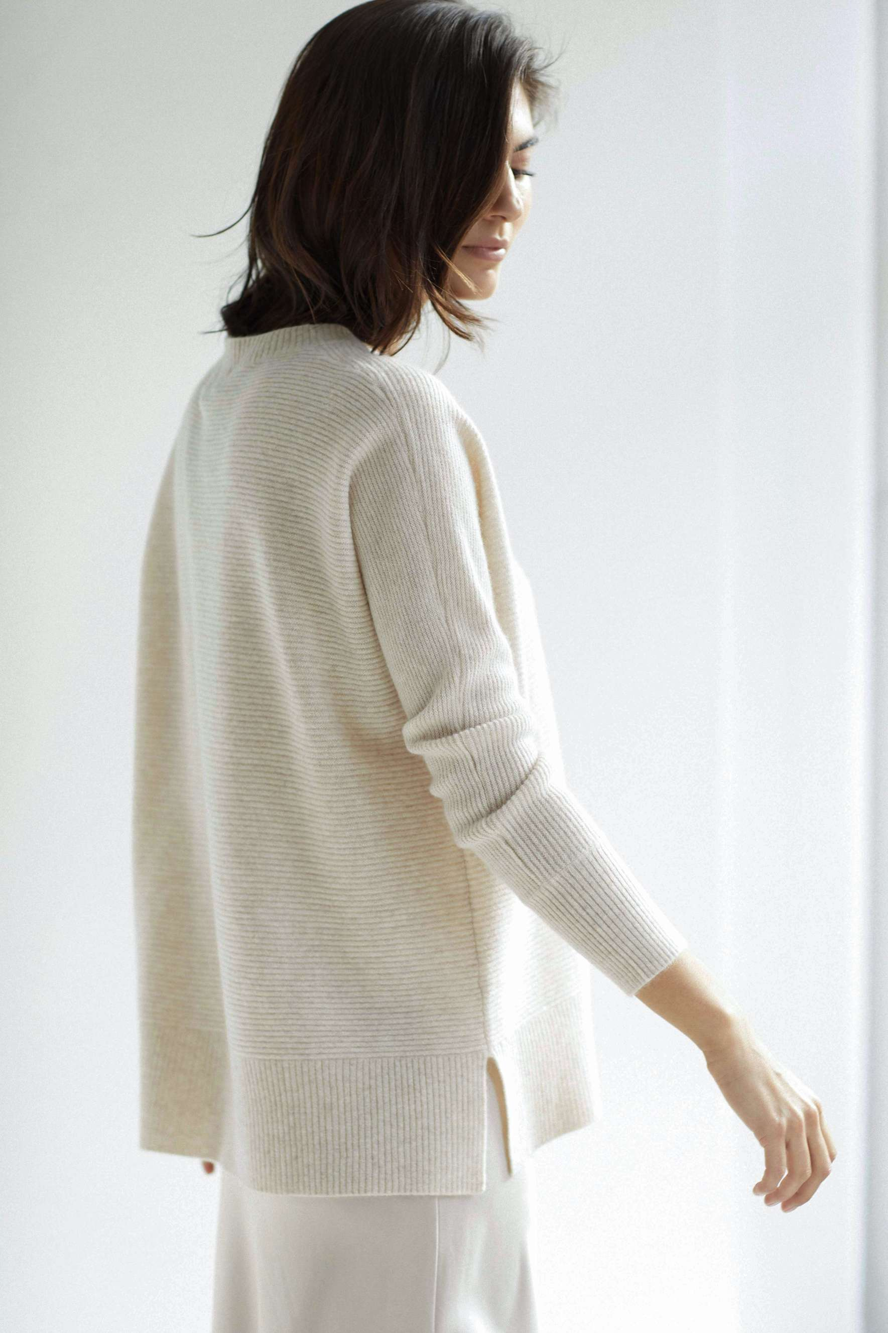 Rib O-neck Loose Sweater