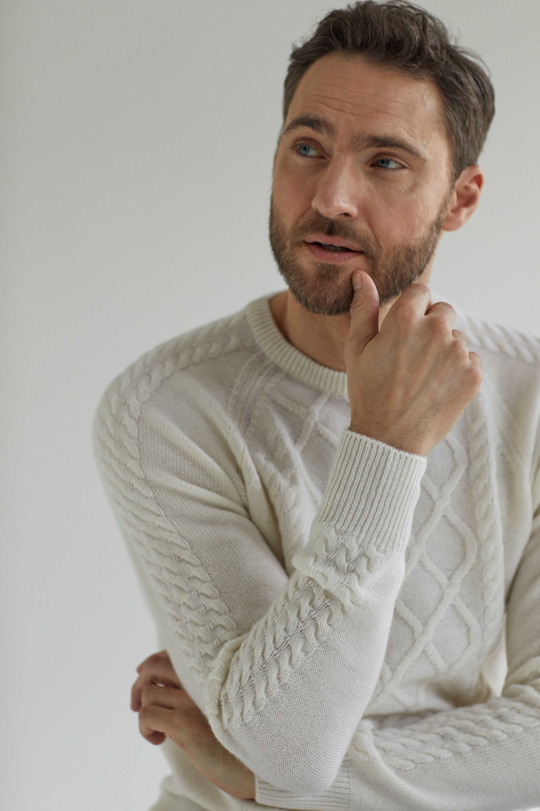 Man Cable Detail Sweater