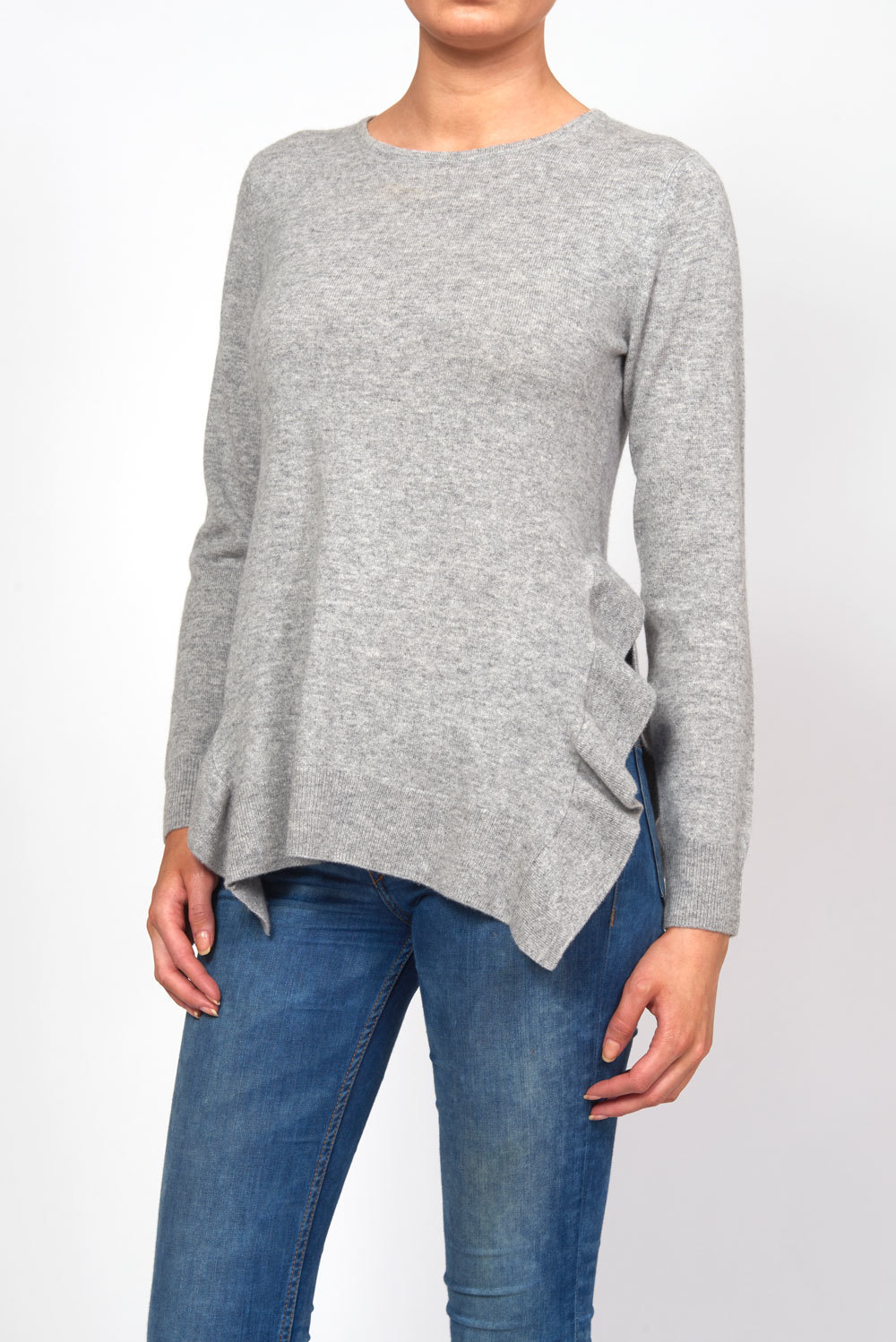 Side Slit Frill Sweater