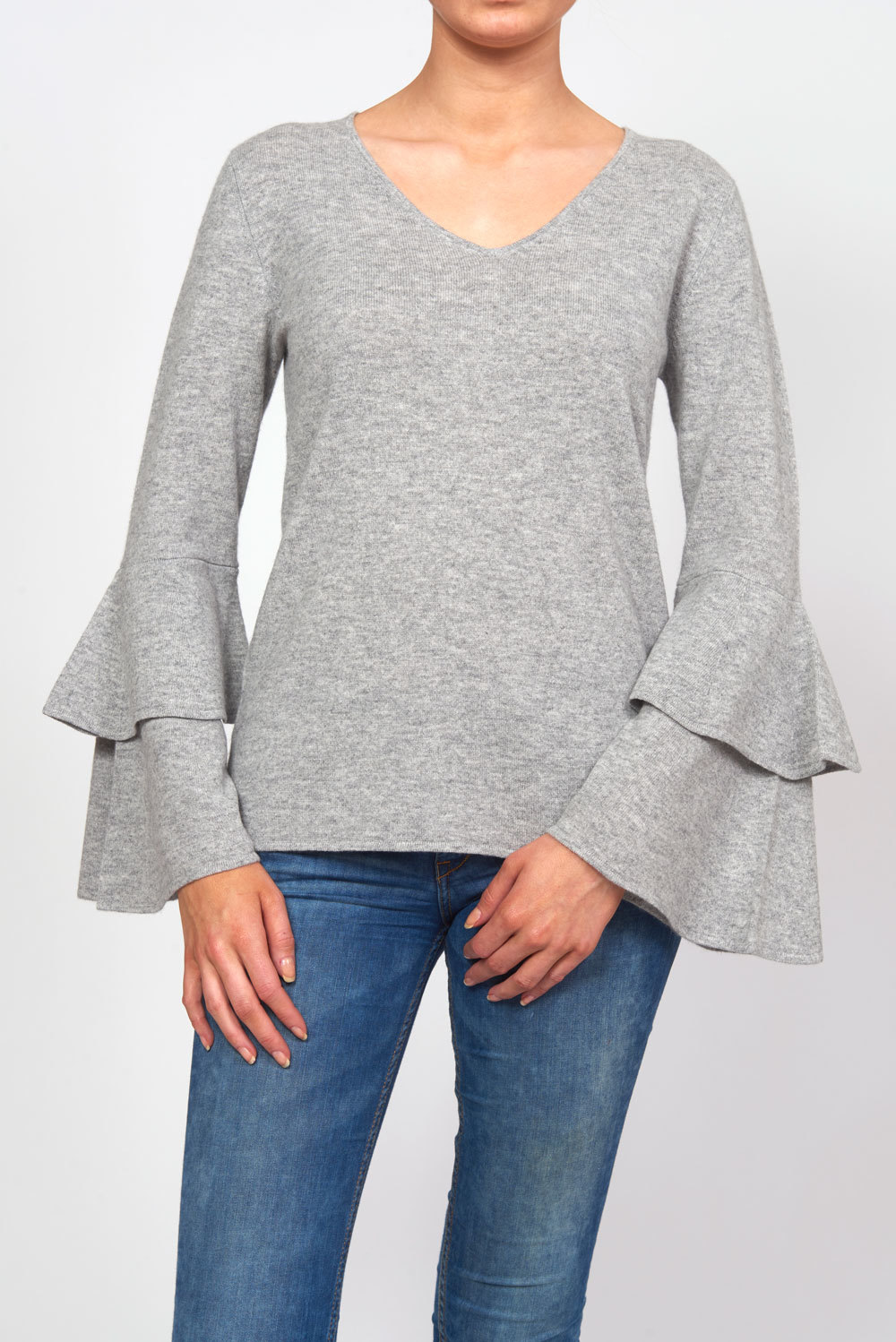 Double Flounce V-neck Sweater